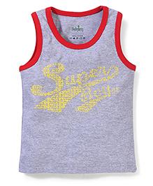 Babyhug Contrast Neckline Vest Super Print - Grey