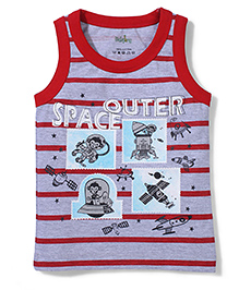 Babyhug Sleeveless T-Shirt Space Print - Red And Grey