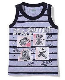 Babyhug Sleeveless T-Shirt Space Print - Navy And Grey