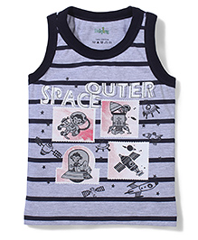 Babyhug Sleeveless T-Shirt Space Print - Navy And Grey
