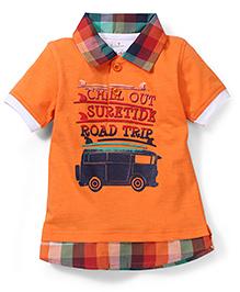 Babyhug Half Sleeves Polo T-Shirt Road Trip Print - Orange