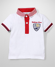 Babyhug Half Sleeves T-Shirt Challenger Series Embroidery - White