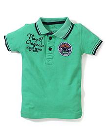 Babyhug Polo Neck Play It Originals Thread Work - Green