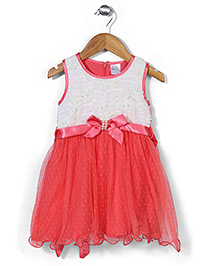 Babyhug Sleeveless Party Wear Frock With Bow - Coral And Off White