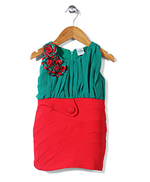 Babyhug Contrast Yoke Pattern Dress Floral Accent - Green Red