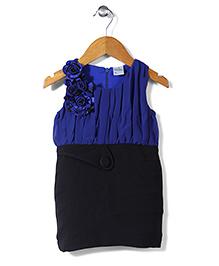Babyhug Contrast Yoke Pattern Dress Floral Accent - Blue Black