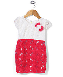 Babyhug Half Sleeves Lace Yoke Dress With Flower Bow - Crimson Off White