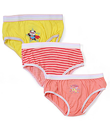 Babyhug Panties Multi Print Set Of 3 - Peach Red Yellow