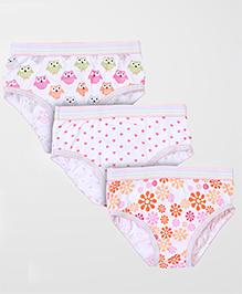 Babyhug Panties Multi Print Set Of 3 - White