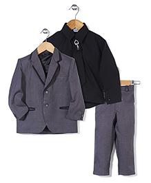 Babyhug Party Wear 3 Piece Coat Set With Tie And Brooch - Grey Black