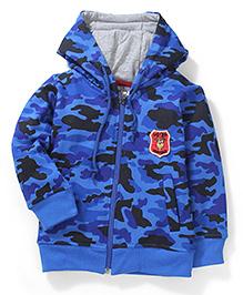 Babyhug Hooded Sweatshirt Camouflage Print - Blue