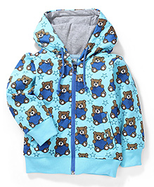 Babyhug Hooded Sweatshirt Bear Print - Aqua