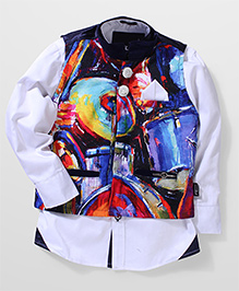 Finger Chips Full Sleeves Shirt And Printed Waist Coat - Multi Color