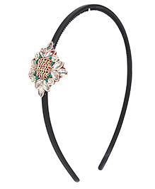 Chotee Elegant Stone & Copper Wire Work Hairband - Green