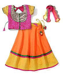 Kids Chakra Embriodered Lehenga Choli Set - Pink & Orange