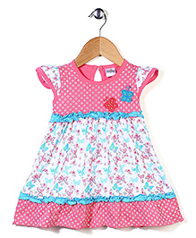 Babyhug Cap Sleeves Printed Frock With Butterfly Motifs - Navy & White
