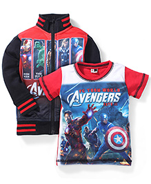 Finger Chips Full Sleeves Jacket And T-Shirt Avengers Print - Red and Black