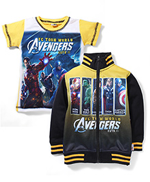 Finger Chips Full Sleeves Jacket And T-Shirt Avengers Print - Yellow N Black