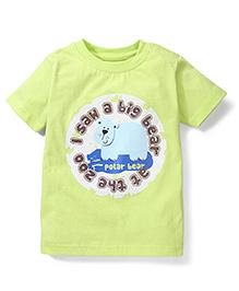 Babyhug Half Sleeves T-Shirt Polar Bear Print - Light  Green