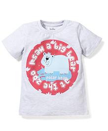 Babyhug Half Sleeves T-Shirt Polar Bear Print - Grey
