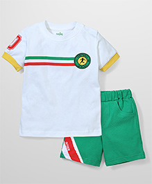 Babyhug Half Sleeves T-Shirt and Shorts Set Football Print - White & Green