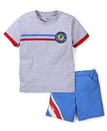 Babyhug Half Sleeves T-Shirt and Shorts Set Football Print - Grey Blue