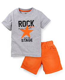 Babyhug Half Sleeves T-Shirt and Shorts Set Star Patch - Grey and Orange