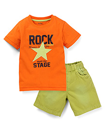 Babyhug Half Sleeves T-Shirt and Shorts Set Star Patch - Orange and Green
