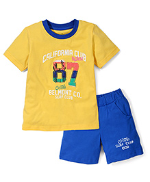 Babyhug Contrast Neckline T-Shirt And Shorts California Print - Yellow Blue