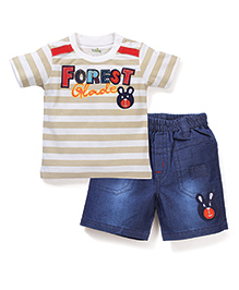 Babyhug Half Sleeves T-Shirt and Shorts Set Forest Patch - Off White and Blue
