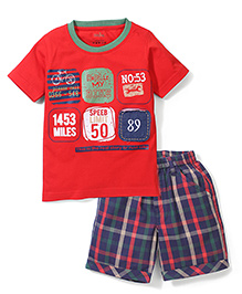 Babyhug Multi Print T-Shirt & Check Shorts - Red & Navy