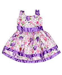 Winakki Kids Printed Dress - Purple & Cream