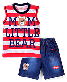Babyhug Contrast Neckline T-Shirt And Shorts Bear Print - Red Blue