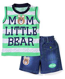 Babyhug Contrast Neckline T-Shirt And Shorts Bear Print - Green Blue