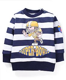Babyhug Full SLeeves Striped Sweat T-Shirt - Blue & White