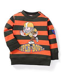 Babyhug Full SLeeves Striped Sweat T-Shirt - Orange & Green