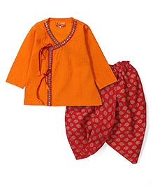 Exclusive from Jaipur Full Sleeves Kurta And Dhoti - Orange Maroon