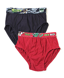 Cucumber Briefs Ben 10 Print Set Of 2 - Red & Black