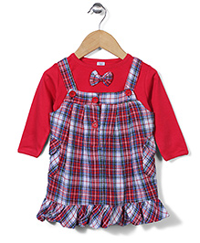 ToffyHouse Checks Frock With Plain Inner Tee - Red Blue