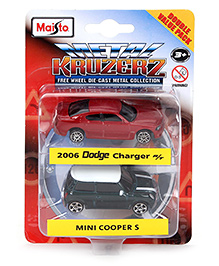 Maisto 2006 Dodge Charger & Mini Cooper S Double Value Pack of 2 - Red & Black