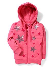 Palm Tree Hooded Jacket Sequins Work - Pink