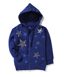 Palm Tree Hooded Jacket Sequins Work - Navy Blue