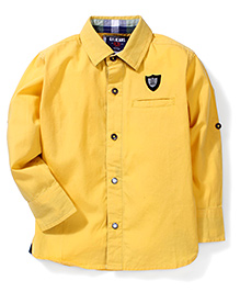 Gini & Jony Collar Neck Solid Colour Shirt - Yellow