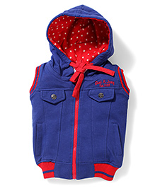 Gini & Jony Sleeveless Hooded Jacket - Blue And Red