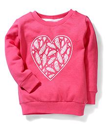 Gini & Jony Full Sleeves Sweat T-Shirt Feather Print - Pink