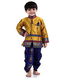 Babyhug Full Sleeves Kurta And Dhoti - Gold And Blue
