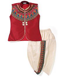 Babyhug Sleeveless Kurta And Dhoti Set Embroidery - Maroon & Cream