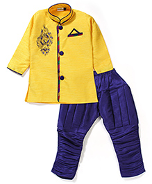 Babyhug Full Sleeves Kurta And Jodhpuri Breeches Bead Detailing - Yellow & Blue