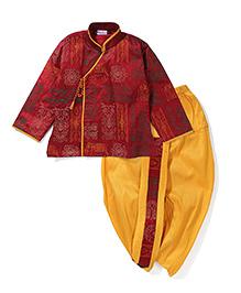 Babyhug Full Sleeves Thread Design Kurta And Dhoti Set - Maroon Yellow
