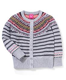 Seal Knit Pattern Full Sleeves Cardigan - Grey